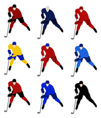 Set vector hockey players in the national jerseys