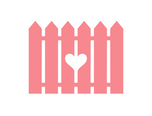 Pink fence with cut heart