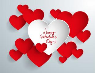 Corazón blanco feliz día de San Valentín entre corazones rojos.