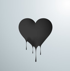 Corazón negro derritiéndose en gotas. Amor negro