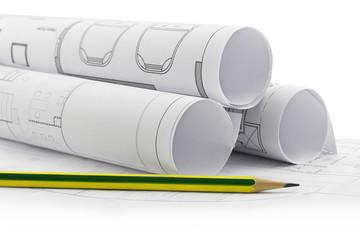 Architect rolls and plans, construction plan drawing and pencil