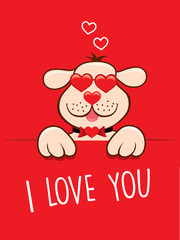 dog with heart sunglasses valentine card