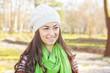 Happy Young Caucasian Woman Portrait Outdoor
