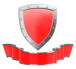 Silver shield with ribbon