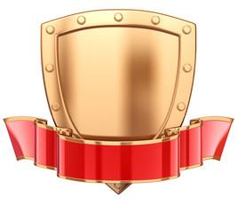 Shield with ribbon