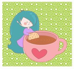 desenho bonequinha, menina e café