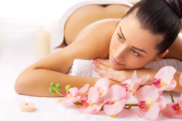 beautiful woman in a massage salon