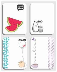 cards, desenho coxinha, brigadeiro, melancia, porco, xícara