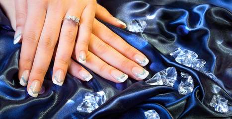 franch manicure with brilliants