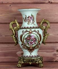 porcelain vase on a wooden background