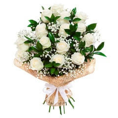 White roses bouquet isolated