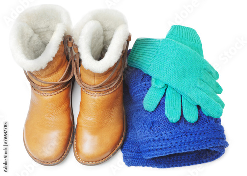 canvas print picture Winter shoes and accessories