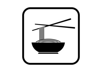 Noodles vector icon on white background