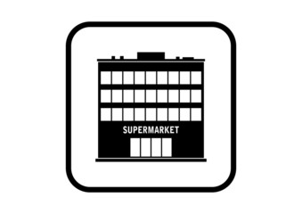 Supermarket vector icon on white background