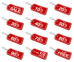Sale tags with different discounts, 3d render