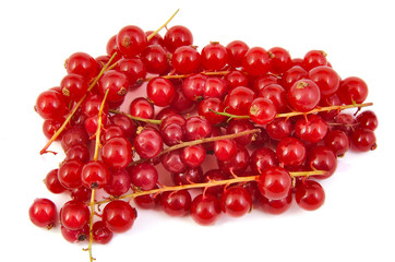 Bunch of fresh red currants on white background.
