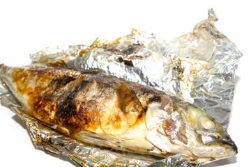 Fried fish in the foil