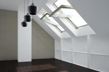 Zimmer mit Fenster im Dachgeschoss