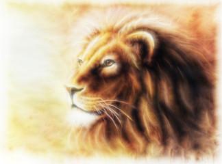 Lion painting  fractal filtered image of a lion