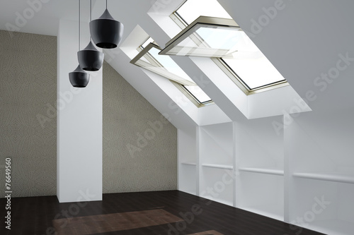 canvas print picture Zimmer mit Fenster im Dachgeschoss