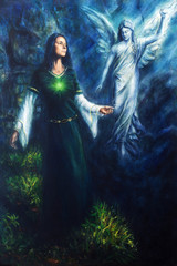 painting of a mystical woman in historical dress having a vision