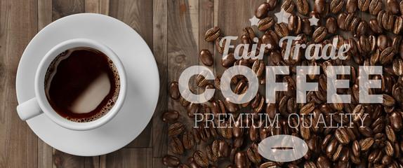 Tasse mit Fair Trade Kaffee von oben