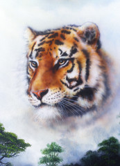 A beautiful  painting  tiger looking background
