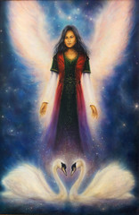 A beautiful oil painting on canvas of an angel woman with radian