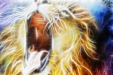 lion fractal  abstract cosmical background