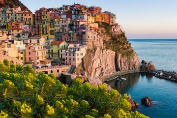 Sunset in Manarola, Cinque Terre, Italy. Scenic landscape