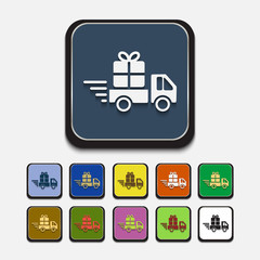 Stylish colored icons: delivery gift