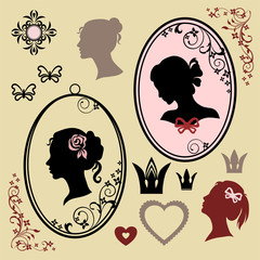 woman profile silhouettes and design elements set
