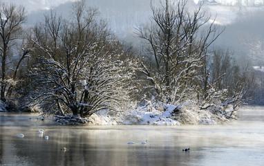 Winter landscape over the river