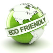 Eco friendly symbol with globe, 3d render
