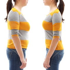 Fat girl standing in front of  thin girl