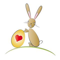 Süßer Osterhase mit Herz Osterei