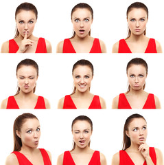 Face expressions of  young woman isolated on white .