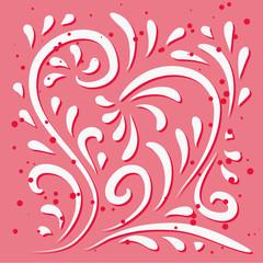 floral heart design - vector illustration