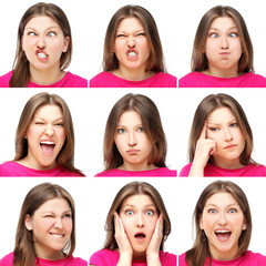 Expression of  young funny  girl  ,collection set