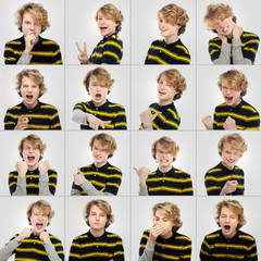 Expression collection  of  teenage boy with curly blond hair
