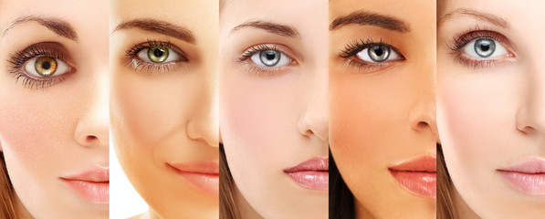 Five beautiful  women of different ethnic groups  with different