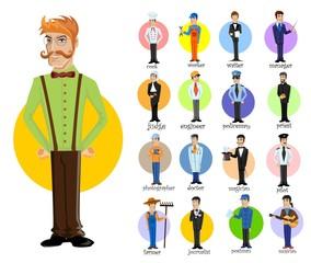Мультфильм векторных символов различных профессий