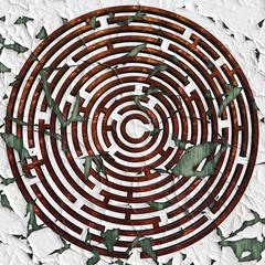 Copper maze on peeling white background