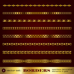 Borders seamless decorative elements in gold set 8