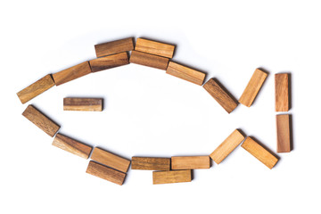 wooden fish consists of jenga sticks