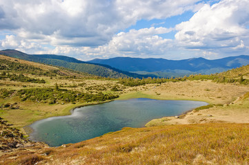 Lake in the Carpathian Mountains. Ukraine