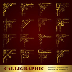 Calligraphic corners, frames and decorative elements in gold
