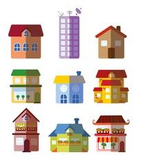 Набор векторных многоквартирных домов