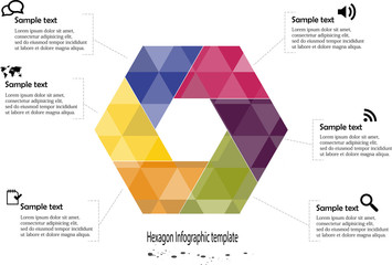 Infographic with hexagon motif