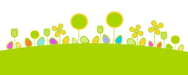 Wiese Ostern Hügel Grün Blumen
